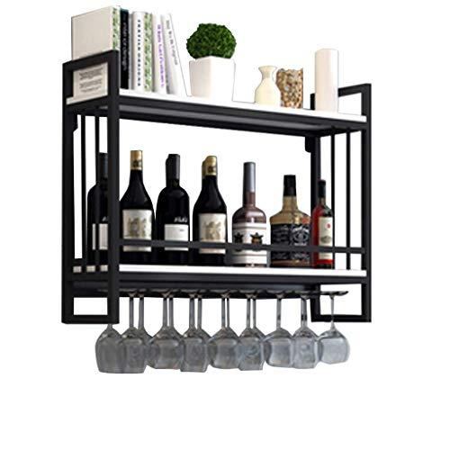 Alqn Hängender Weinglashalter | Weinregale Wandmontage Holz Metall | Weinregal mit Glashalter | Abgehängter Weinflaschenhalter | Weinregal Holzlagereinheit,80 cm × 20 cm