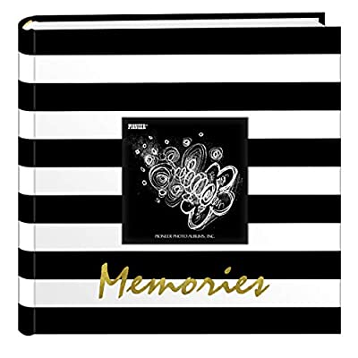 Pioneer Photo Albums Golden Memories Black and White Striped 200 pkt 4x6 Photo Album, Pocket, Gold