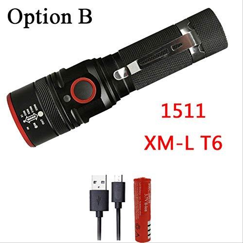 Ampoules à LED Lampe torche à lumière dure, cyclisme résistant aux chocs, auto-défense, option rechargeable B