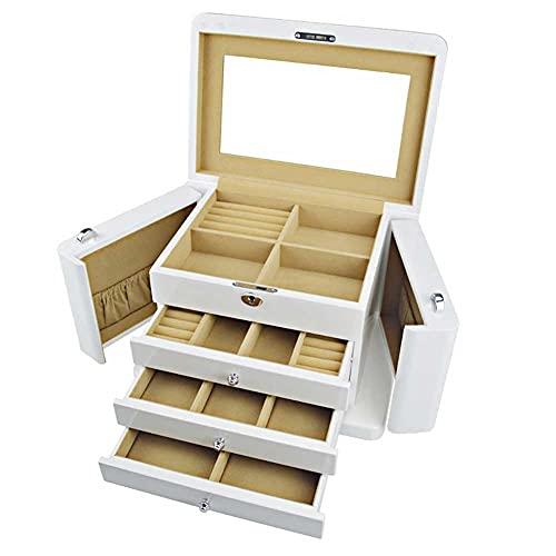 Adesign Caja de joyería, Organizador de Joyas con 3 cajones, Caja de joyería bloqueable con Espejo, Estuche de Viaje portátil, para Anillos, Pulseras, Pendientes, Collares, Regalo,