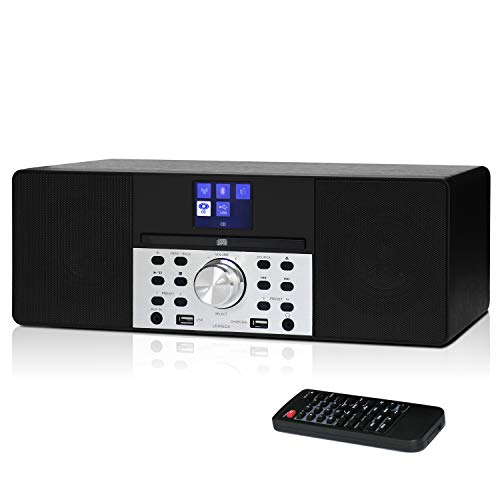 LEMEGA MSY1 Music System with CD Player,FM Digital Radio, Bluetooth,Wooden Box, 20W Stereo Sound,USB MP3,USB Phone Charging,Headphone-Out,Aux-in,Alarms&Clock,Colour Display, IR Remote-Black
