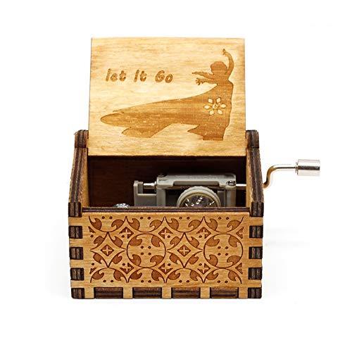 Cajas Musicales Accesorios Decorativos Tallada antigüedad Madera de la manivela Caja de música for la Fiesta de cumpleaños Regalo de Digimon (Color : Let le go)