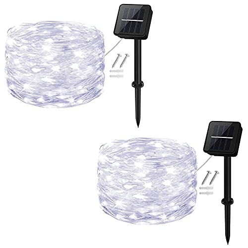 Solar String Lights,Cshare 50 LEDs 2 Pack Powered Fairy Lights Outdoor 8 Modes 33 FT Solar Garden Lights,Waterproof for Yard,Pathway,Christmas Tree, Home, Wedding, Party Decorations(Cool White)