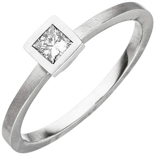 JOBO Damen Ring 950 Platin matt 1 Diamant Princess-Schliff 0,20ct. Größe 56