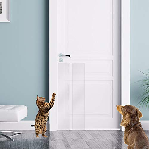 KEBE Door Scratch Protector, Protect Your Door, Furniture and Wall with Clear Premium Heavy Duty Door Cover Scratch Shield, Large Vinyl Door Guard for Dog Scratching
