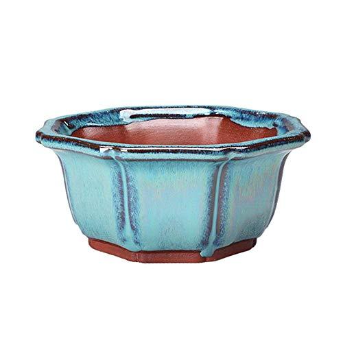 Lecimo Maceta de Planta de Flor de Bonsai Chino Mini contenedor de Maceta de cerámica Esmalte Azul Oscuro