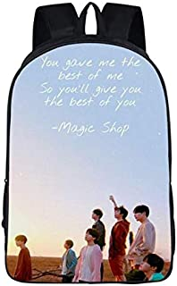 Stylish BTS bullet-proof juvenile group pattern backpack for primary and secondary school students casual daypack shpulder...