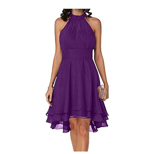 Summer Dress Women Sleeveless Hem Dress for Girl Ladies Clothing Dresses Purple