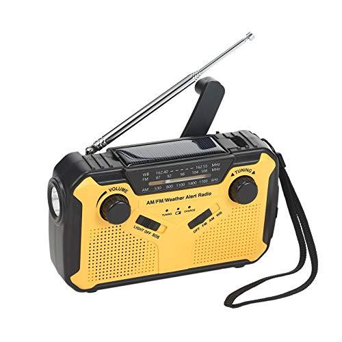 docooler Radio FM AM WB a Energia Solare Manovella Torcia di Emergenza SOS Allarme Lampada da Lettura LED USB 3,5 mm Uscita 2500 mAh Batteria Esterna