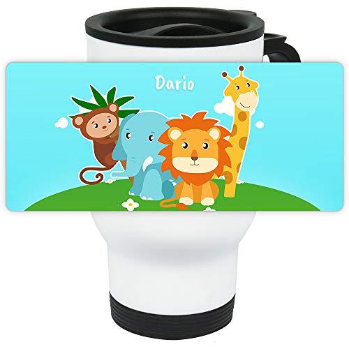 Eurofoto Thermo-Becher mit Namen Dario und Zoo-Motiv für Jungen | Thermo-Tasse | Isolier-Becher mit Henkel aus Edelstahl