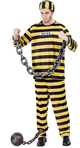 gelb schwarz gestreifter Sträfling Kostüm für Herren Gr. M - L, Größe:L