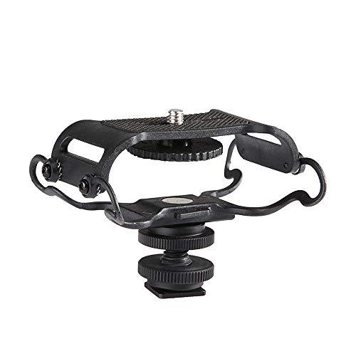 WJDASM Altavoz BY-C10 Soporte de micrófono para Shock para Zoom H4n / H5 / H6 para Sony Tascam DR-40 DR-05 Grabadoras Microfone Shockmount, Negro