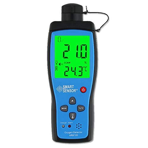 Detector de gas oxígeno Monitor de medidor de O2 0~25% VOL Analizador de prueba de oxígeno de mano con batería Sonido y luz Alarma de vibración Monitor de calidad del aire interior