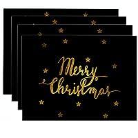 4PCSクリスマスプレースマット、クリスマステーブルプレースマットセット、洗える耐熱プレースマット,B