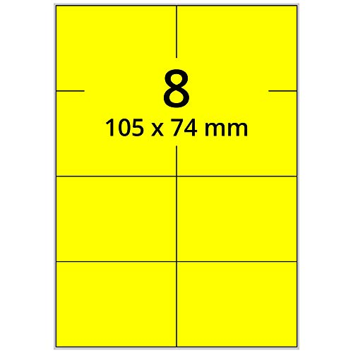Labelident farbige Etiketten DIN A4 leuchtgelb - 105 x 74 mm - 800 Papier Farbetiketten auf 100 Blatt, Laser Etiketten farbig selbstklebend, bedruckbar