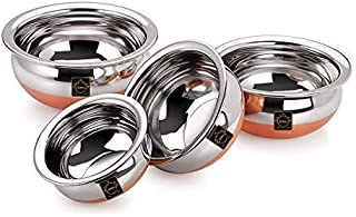 New SSE Online Stainless Steel Handi with Copper Bottom 550, 750, 1250, 1750 ml (Silver) - Set of 4