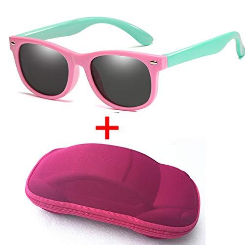 YULE Gafas de sol polarizadas para niños y niñas, de silicona, 100% UV400, con funda (color rosa, verde)