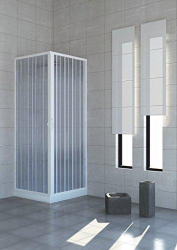 Douchecabine PVC dubbele deuren vouwdeur middenopening 75 x 75 cm hoogte 185 cm