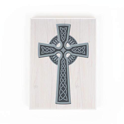 P. Graham Dunn Celtic Cross Slate Blue 7 x 5 Pine Wood Decorative Small Tabletop Sign