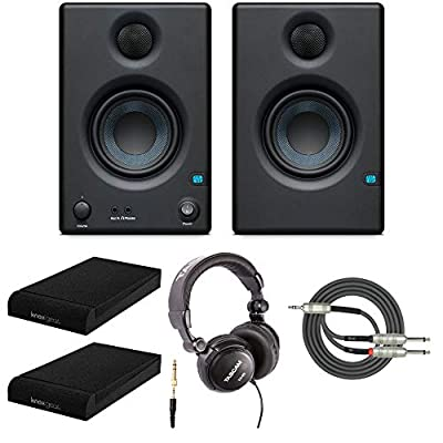 Presonus Eris-E3.5 Studio Monitors (Pair) with Full-Sized Headphones, Knox Gear Isolation Pads and Breakout Cable from Presonus