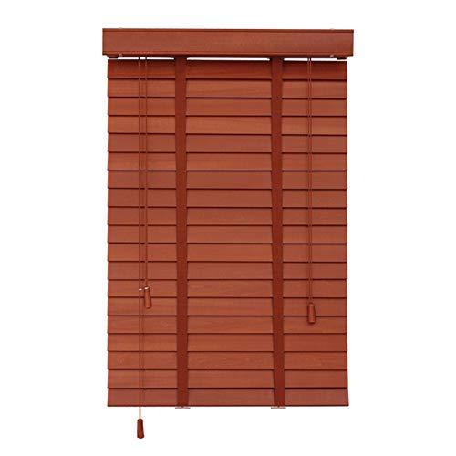 Holz Jalousien Für Fenster,Halbschatten Jalousien,Dunkle Eiche,Innen/Außen,Echtholz Jalousien,130x160cm/51x63in