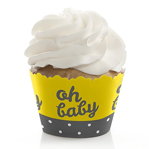 Hello Little One - Yellow and Gray - Baby Shower Decorations - Party Cupcake Wrappers - Set of 12