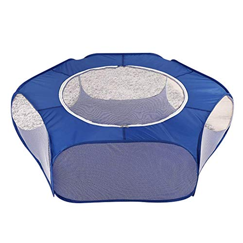 Msleep Small Animals Cage Tent with Top Cover Breathable Foldable Playpen Exercise Fence for Outdoor/Indoor Blue