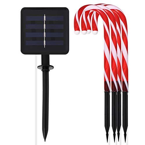VILLCASE 5 Stücke Solar Gartenleuchten LED Zuckerstangen Beleuchtet Solar Gartenstecker Weihnachten Solarleuchten mit Solarpanel Garten Solarlampen für Innen Außen Weihnachtsdeko Xmas Party Deko