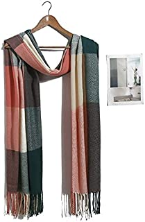 WUNONG-AU Men and Women Couple Lattice Scarf Fashion Warm Shawl Winter Big Lattice Scarf (Color : Pink, Size : 190-200cm)