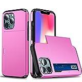 RZL Teléfono móvil Fundas para iPhone 13 Pro, Slide Armor Wallet Tarjetas de Tarjeta Soporte Funda de Negocios para iPhone 13Pro 5G 6.1'2021 (Color : Rosado, Material : iPhone 13 Pro 6.1)