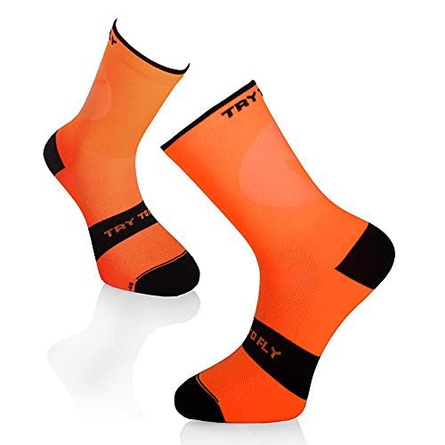Try To Fly Calcetines de ciclismo para hombre naranja 39-42