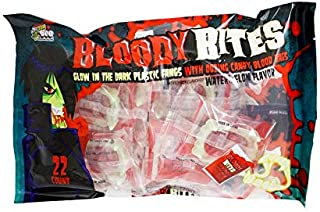 Halloween Bloody Bites Glow In The Dark Plastic Fangs With Oozing Candy Blood Bags Watermelon Flavor, 7.7 Ounce bag, 22 Count