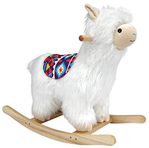 Wagner 9600 - Schaukeltier Lama Alpaka 55 cm Gross aus Holz und Plüsch für Kinder und Babys Schaukelpferd Schaukellama