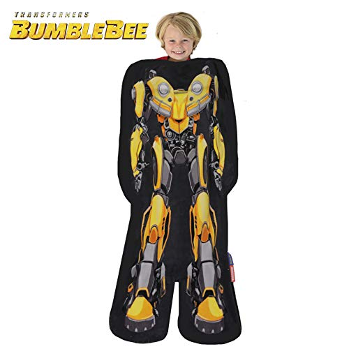 Blankie Tails   Transformers Blanket - Double Sided Super Soft and Cozy Minky Fleece Blanket, Machine Washable Fun No Zipper Transformer Wearable Blanket for Kids (Bumblebee)