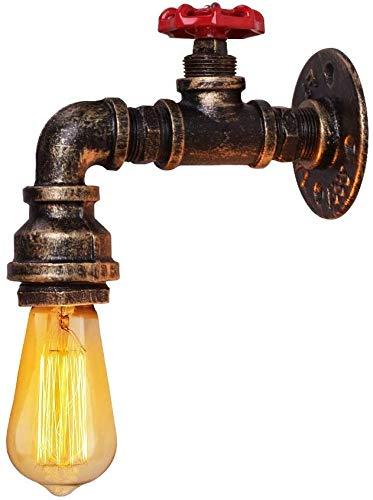 Coquimbo - Aplique de pared con tubos de agua, lámpara de pared industrial Vintage, tubo de grifo acabado de hierro, lámpara para bar, salón y dormitorio (bombillas no incluidas)