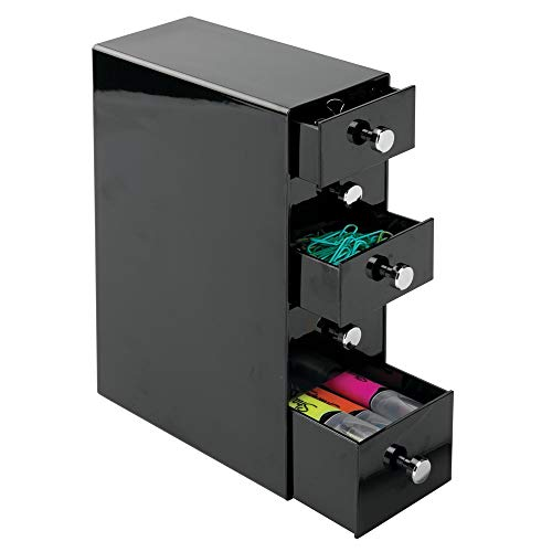 mDesign Office Supplies Desk Organizer for Paper Clips, Sticky Notes, Tape - 5 Drawers, Black