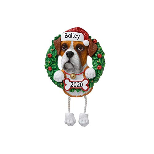 Personalized Boxer Pure Breed Christmas Tree Ornament 2020 - Dog Dangle Paw Santa Hat Love Play High-Energy Large Muscular Square-Headed Guard Fur-Ever New Loyal R.i.p. Smart - Free Customization