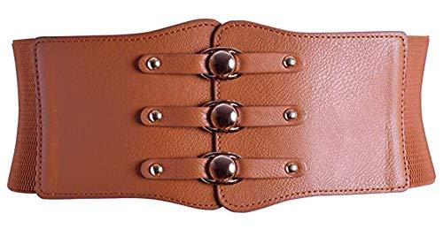 Nanxson Womens Elastic Wide Waist Band Tied Waspie Corset Obi Waist Belt PDW0077 (brown)