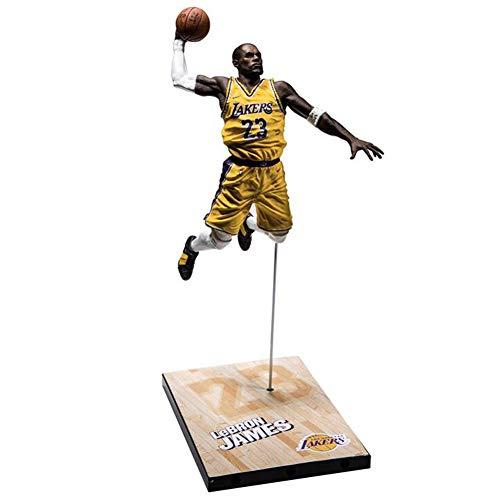 NBA L.A. Lakers Number 23 Lebron James Action Figure con Canasta De Baloncesto, Estatuas De Juguete PVC De Protección del Medio Ambiente, Adecuado para Colección Amateur.