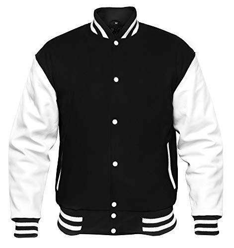 VINTAGE BASICS College Jacke - Unisex Baseball Jacke - Oldschool Varsity Jacke aus Wolle für Herren und Damen Schwarz XXL