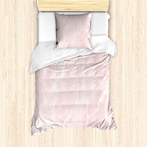 ABAKUHAUS Marmor Bettbezug Set für Einzelbetten, Trübe Mineralische Kratzer, Milbensicher Allergiker geeignet mit Kissenbezug, Hellrosa Weiß