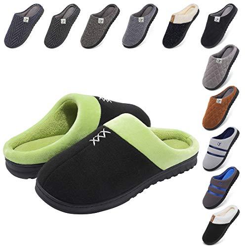 Zapatillas Casa Hombre Forro de Felpa Más Grueso Zapatillas de casa de Hombre Antideslizante de Interior y Exterior Pantuflas Cálido y Confortable