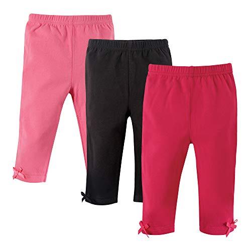 Hudson Baby Baby Girls' Cotton Leggings, 3 Pack, Pink/Black, 9-12 Months (12M)