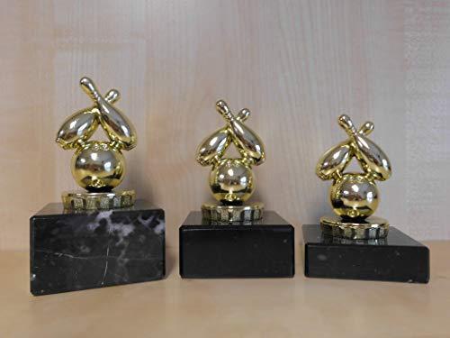 Fanshop Lünen Bowling - Bowlen - Pokale 3er Serie - Sieger - Kegeln - Kegler - Turnier - Kids - Trophäe - Geburtstag - (Gold) - Figur - Pokal - mit Gravur - (pf15) -