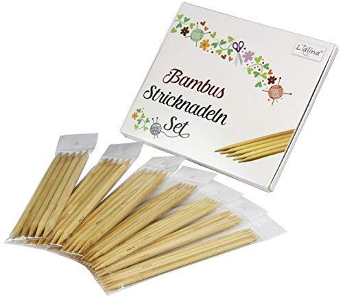 Lialina® voordeelpakket 7-delige set bamboehout dubbele stiknaden in gangbare maten 5,0-10,0 mm voor uw volgende breiproject sjaal sokken muts handschoenen babykleding enz.