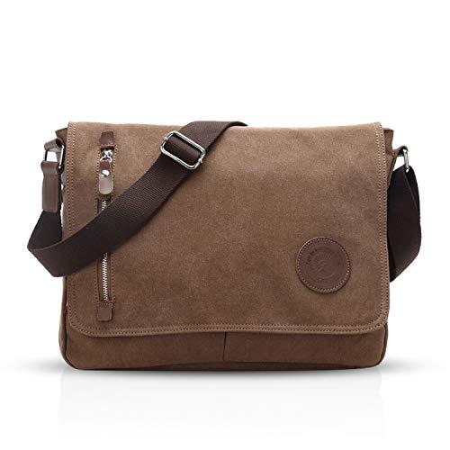 FANDARE Unisex Borsa a Tracolla per 14 pollici Laptop Messenger Bag Uomo Donna Borse a Spalla Sacchetto di Tela Multifunzione Canvas per Lavoro Scuola Viaggio Shopping Crossbody Bag Marrone