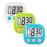 Kitchen Timer 3 Pack Small Digital Electronic Loud Alarm, Magnetic Backing, ON/OFF Switch, Minute Second Countdown/up, White, Green and Blue