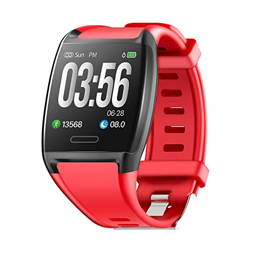 HalfSun Impermeable IP67 Smartwatch, HD Color Screen,Pulsera Inteligente con Pulsómetro, Monitor de Presión Arterial,Monitor de Calorías, Sueño, Podómetro,Pulsera Actividad para Android y iOS (Rojo)