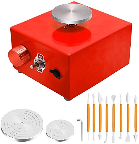 Mini Pottery Wheel, 6.5cm 10cm Turntable Mini Pottery Machine Electric Pottery Wheel DIY Clay Tool with Tray for Ceramic Work Ceramics Clay Art Craft