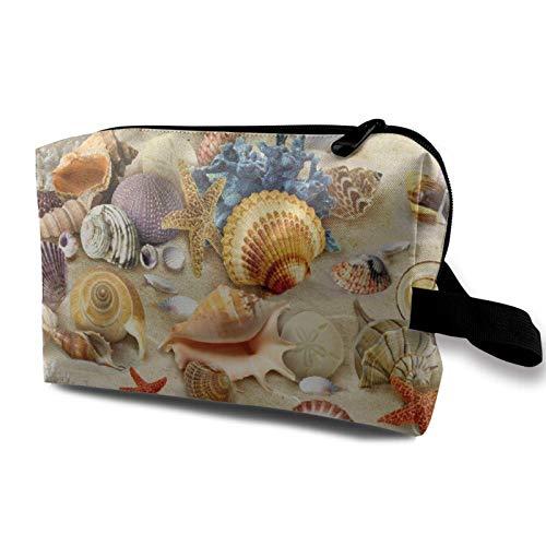 XCNGG Bolsas de maquillaje para mujeres y niñas Bolsa de cosméticos de moda Bolsa de aseo de viaje linda Concha de estrella de mar Concha